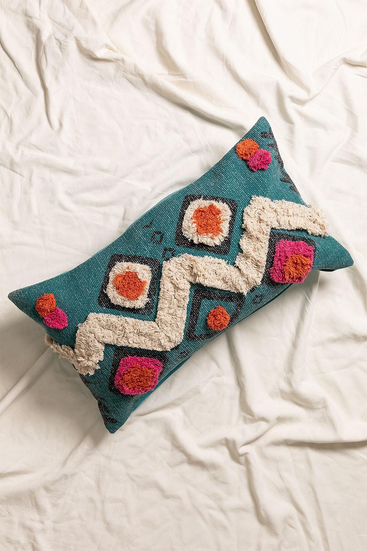 Federa cuscino in cotone Blu, immagine della galleria 1