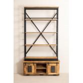 Libreria Uain in legno riciclato con scala, immagine in miniatura 5