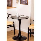 Tavolo da pranzo rotondo in MDF e metallo stile Tuhl, immagine in miniatura 1