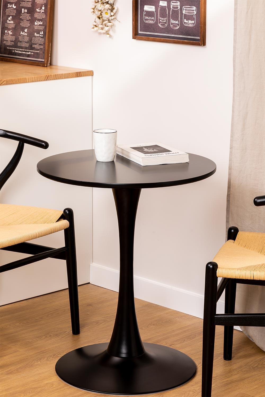 Tavolo da pranzo rotondo in MDF e metallo stile Tuhl, immagine della galleria 1
