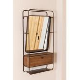 Specchio da Parete Rettangolare con Cassetto in Legno e Metallo (99x50 cm) Oyan, immagine in miniatura 3