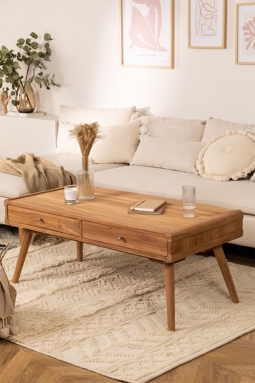 Tavolino da caffè in legno di teak Memphis, immagine della galleria 1