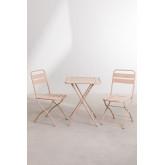 Set tavolo pieghevole Janti (60x60 cm) e 2 sedie da giardino pieghevoli Janti, immagine in miniatura 2