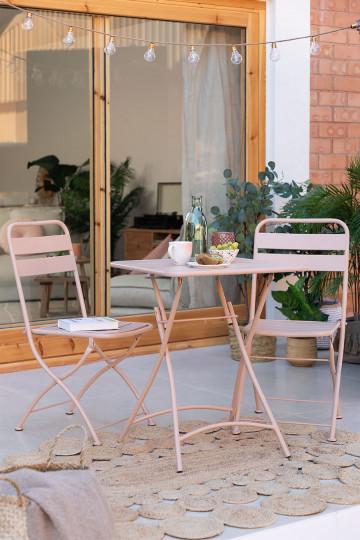 Set tavolo pieghevole da esterno Janti (60x60 cm) e 2 sedie pieghevoli Janti
