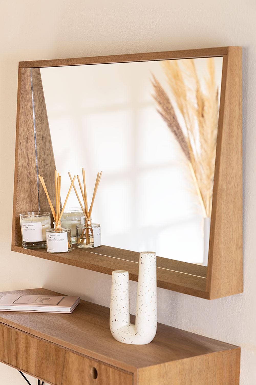 Specchio da parete rettangolare con mensola in MDF (50x80 cm) Nurah, immagine della galleria 1