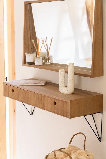 Glai Ingresso in legno di frassino 80 cm con cassetto