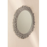 Specchio rotondo da parete in Macrame (Ø70 cm) Gael, immagine in miniatura 1