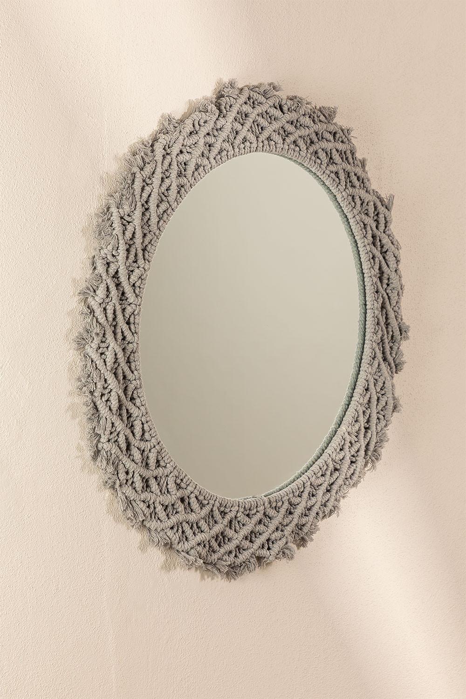 Specchio rotondo da parete in Macrame (Ø70 cm) Gael, immagine della galleria 1