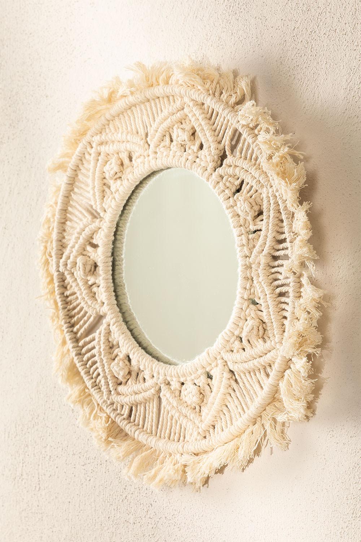 Specchio rotondo da parete in macramè (Ø35 cm) Adrien, immagine della galleria 1