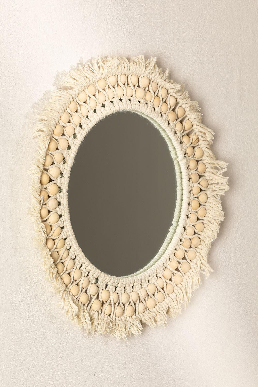 Specchio rotondo da parete in macramè (Ø50 cm) Jarn, immagine della galleria 1