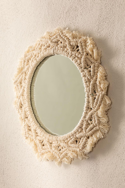 Specchio rotondo da parete in macramè (Ø29 cm) Jerom, immagine della galleria 1