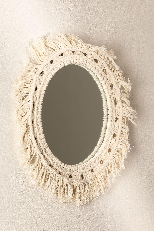 Specchio rotondo da parete in macramè (Ø46 cm) Antoin, immagine della galleria 1