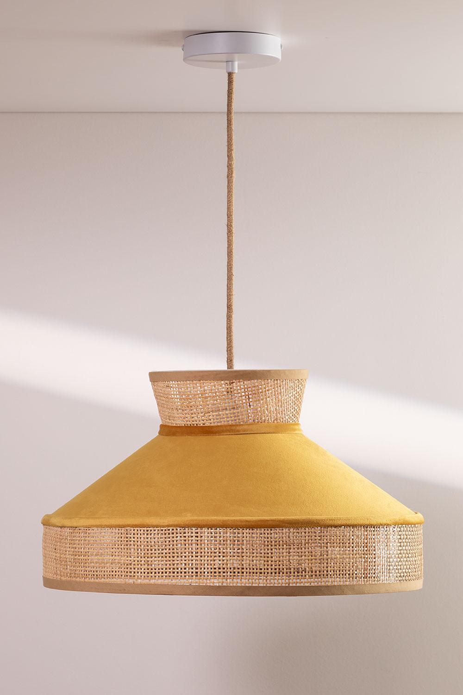 Lampada da Soffitto in Velluto e Rattan Xanti, immagine della galleria 1