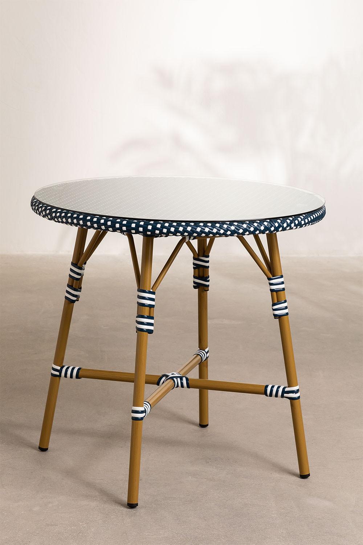 Tavolo da giardino rotondo in vimini sintetico (Ø80 cm) Alisa, immagine della galleria 1