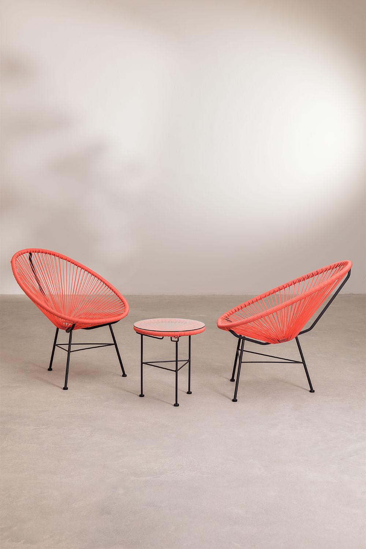 Set 2 sedie e 1 tavolo in polietilene e acciaio New Acapulco, immagine della galleria 1