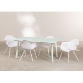 Tavolo Adel e 4 sedie da giardino con set di braccioli Adel, immagine in miniatura 2