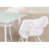 Tavolo Adel e 4 sedie da giardino con set di braccioli Adel, immagine in miniatura 3