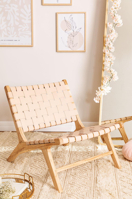 Poltrona in legno e pelle Zaid , immagine della galleria 1