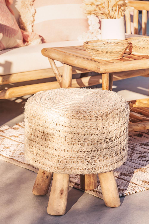 Sgabello rotondo in lana e legno Jein, immagine della galleria 1