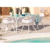 Tavolo Adel e 4 sedie da giardino con set di braccioli Adel, immagine in miniatura 1