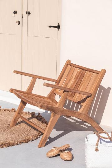 Poltrona da giardino con braccioli in legno Caima