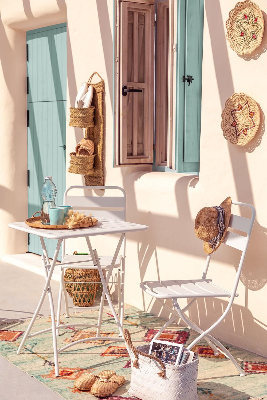 Set tavolo pieghevole Janti (60x60 cm) e 2 sedie da giardino pieghevoli Janti, immagine della galleria 1