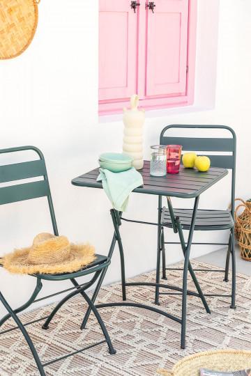 Set tavolo pieghevole Janti (60x60 cm) e 2 sedie da giardino pieghevoli Janti