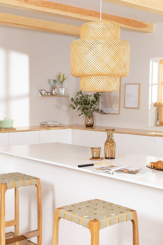 Lampada da soffitto in bambù (Ø45 cm) Lexie, immagine della galleria 1