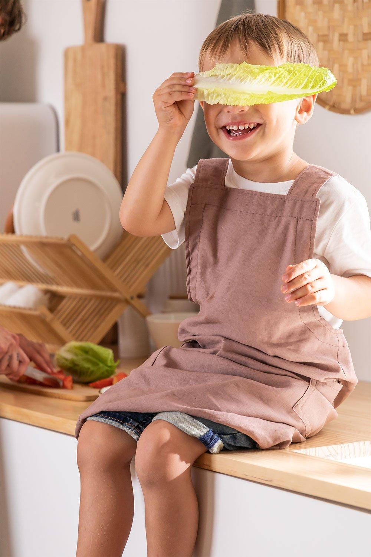 Grembiule in lino e cotone Violet Kids, immagine della galleria 1