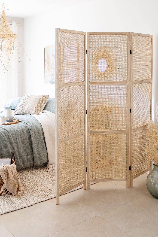 Paravento in rattan e legno Varok, immagine della galleria 1