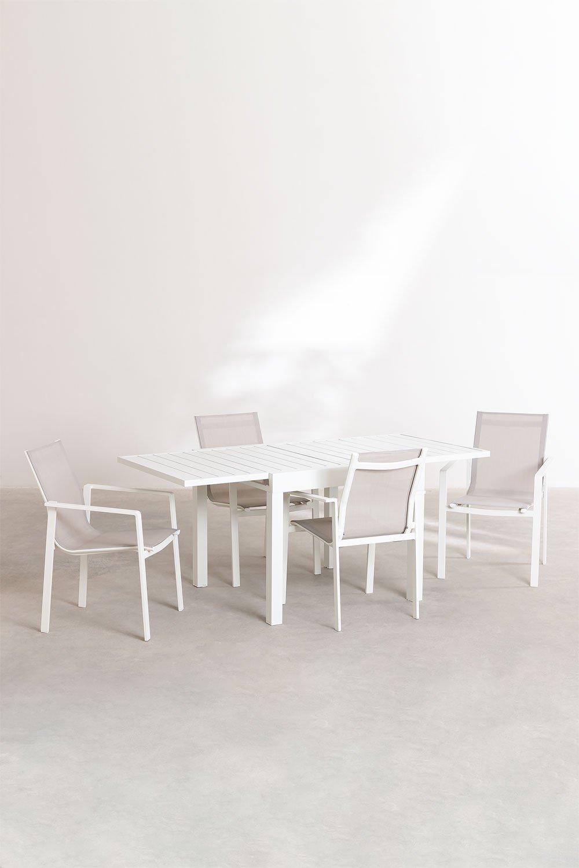 Pack Tavolo Allungabile da Esterno (90cm -180cm) Starmi e 4 Sedie da Esterno Eika, immagine della galleria 1