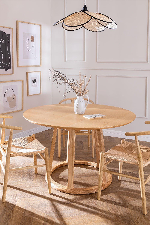 Tavolo da pranzo rotondo in legno (Ø120 cm) Celest, immagine della galleria 1