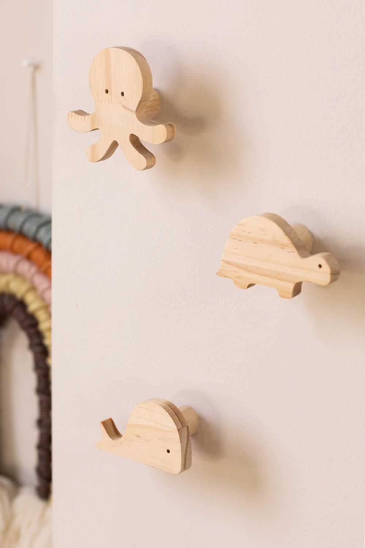 Appendiabiti da parete in legno Pol Kids, immagine della galleria 1
