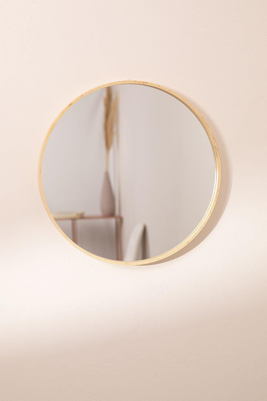Specchio da parete rotondo in legno Yiro, immagine della galleria 1
