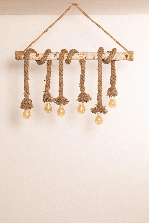 Lampada a sospensione in legno Savy, immagine della galleria 1