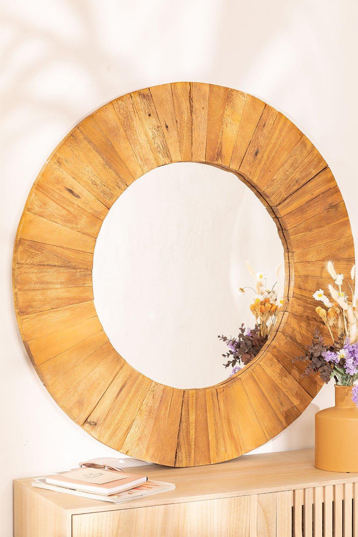 Specchio da parete rotondo in legno riciclato (Ø100 cm) Rand, immagine della galleria 1