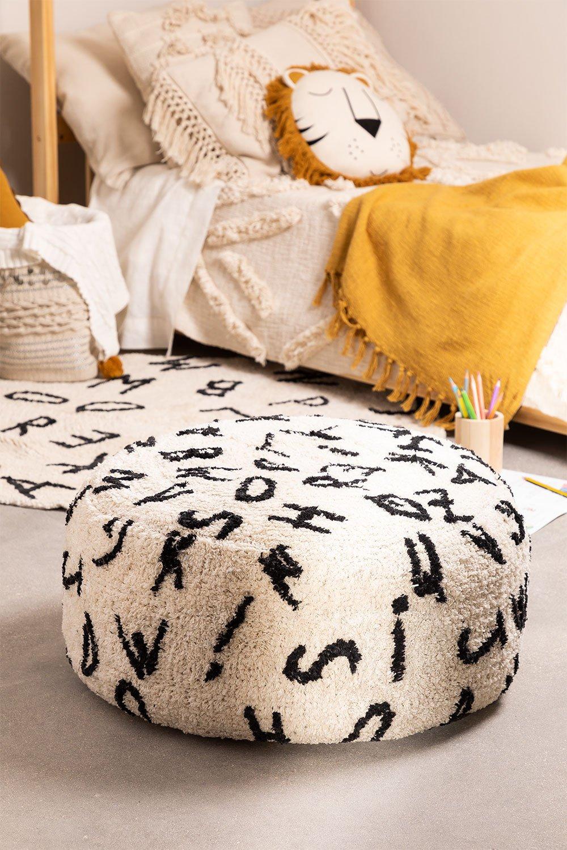 Puff rotondo di cotone Letters, immagine della galleria 1