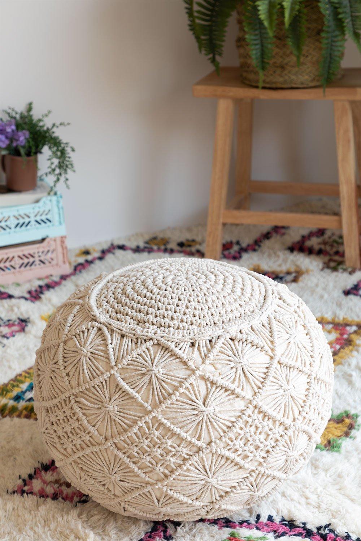 Pouf rotondo in cotone in macramè Kasia, immagine della galleria 1