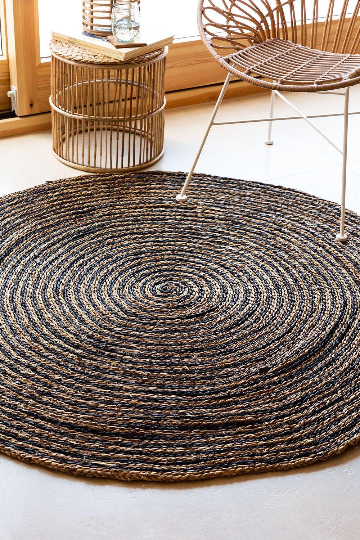 Tappeto rotondo in iuta naturale (Ø150 cm) Font, immagine della galleria 1