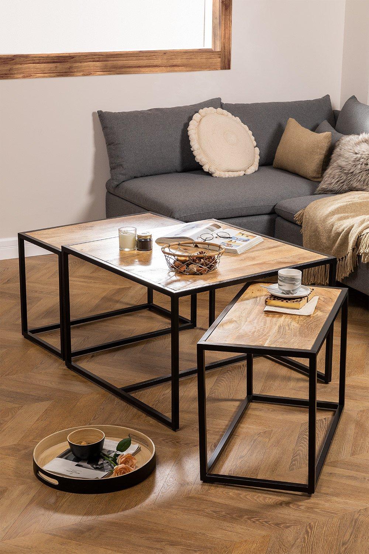 Tavolini Impilabili in legno di mango Bavi, immagine della galleria 1