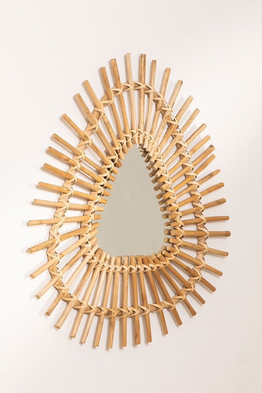 Specchio da parete triangolare in Bambù (56x56 cm) Aube, immagine della galleria 1