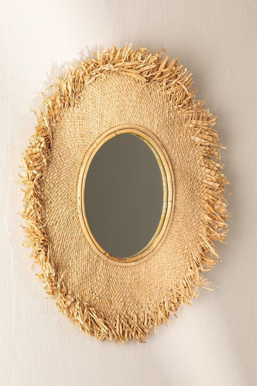 Specchio rotondo da parete in rafia (Ø55 cm) Deani, immagine della galleria 1