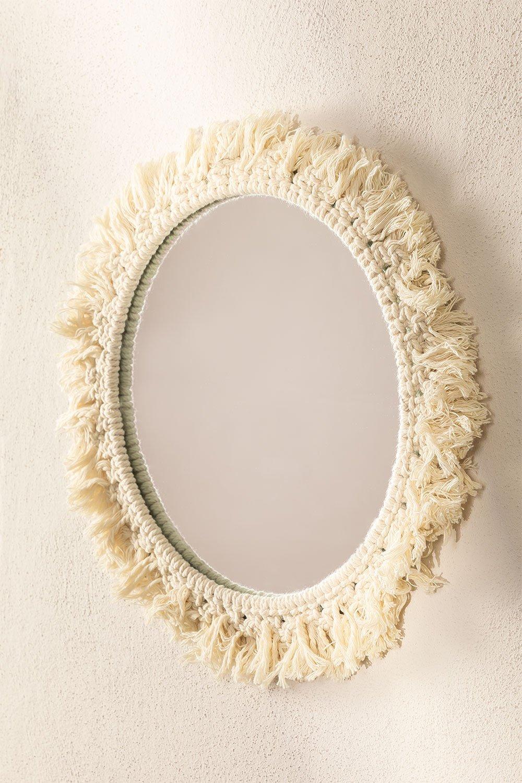 Specchio rotondo da parete in macramè (Ø40 cm) Colin, immagine della galleria 1