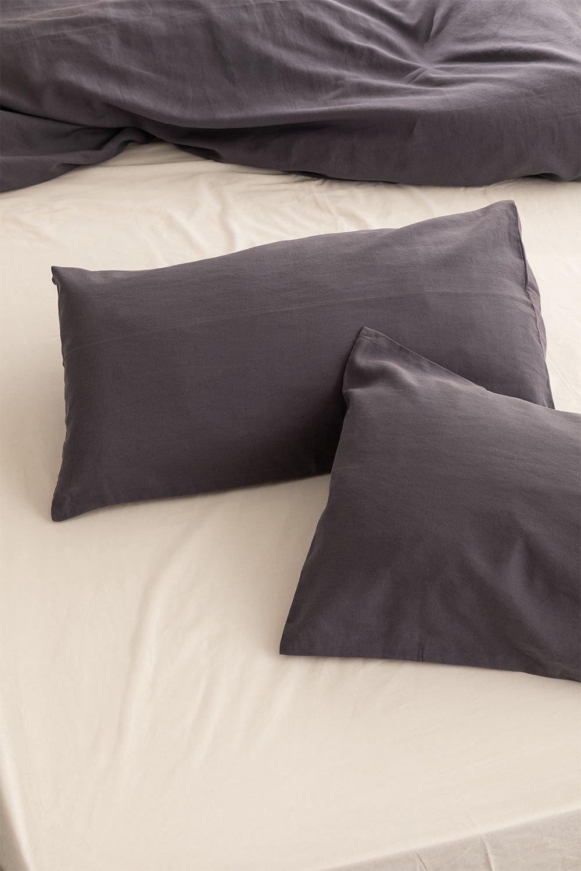 Federa per cuscino rettangolare in lino e cotone (50x75 cm) Ragnar, immagine della galleria 1