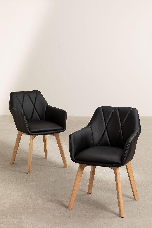 Confezione da 2 sedie da pranzo imbottite Marh Style , immagine della galleria 1