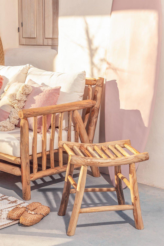 Sgabello basso da giardino in legno di teak Narel, immagine della galleria 1