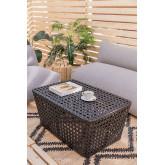 Rechthoekige salontafel in rotan net, miniatuur afbeelding 1