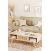 Houten salontafel met centrale lade in Ralik-stijl, miniatuur afbeelding 1