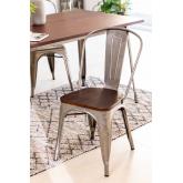 LIX stoel geborsteld staal met houten zitting , miniatuur afbeelding 1