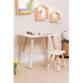 Grechen houten kindertafel en kruk, miniatuur afbeelding 1